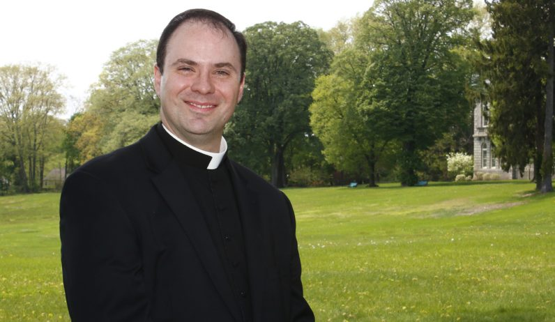 Deacon Brian Connolly, shown on the grounds of St. Charles Borromeo Seminary, is preparing for his ordination to priesthood for the Archdiocese of Philadelphia on May 20. (Sarah Webb)