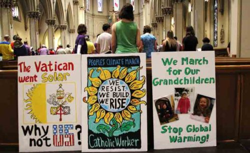 Faithful gather at St. Dominic Church in Washington prior to the start of the People's Climate March April 29. (CNS photo/Dennis Sadowski)