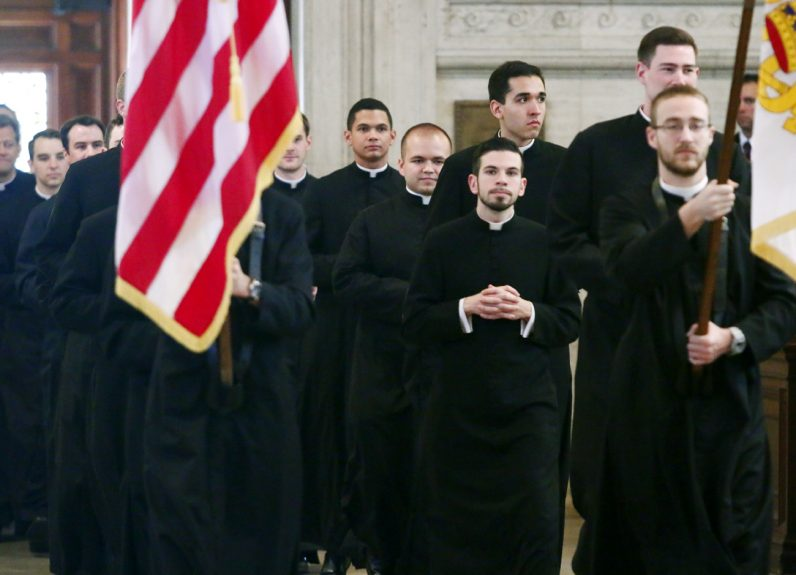 Seminarians process into St. Martin's Chapel for Concursus, a non-liturgical graduation ceremony.