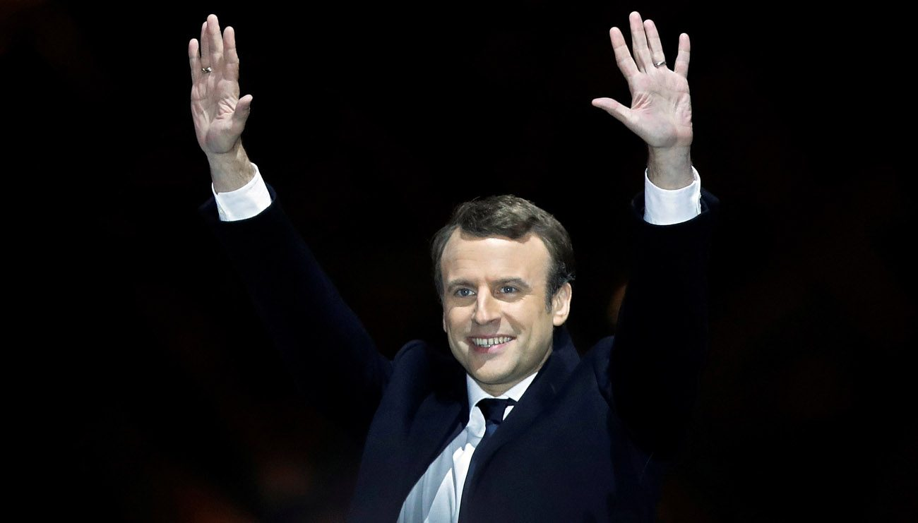 French President-elect Emmanuel Macron celebrates at his victory rally near the Louvre in Paris May 7. (CNS photo/Christian Hartmann, Reuters)