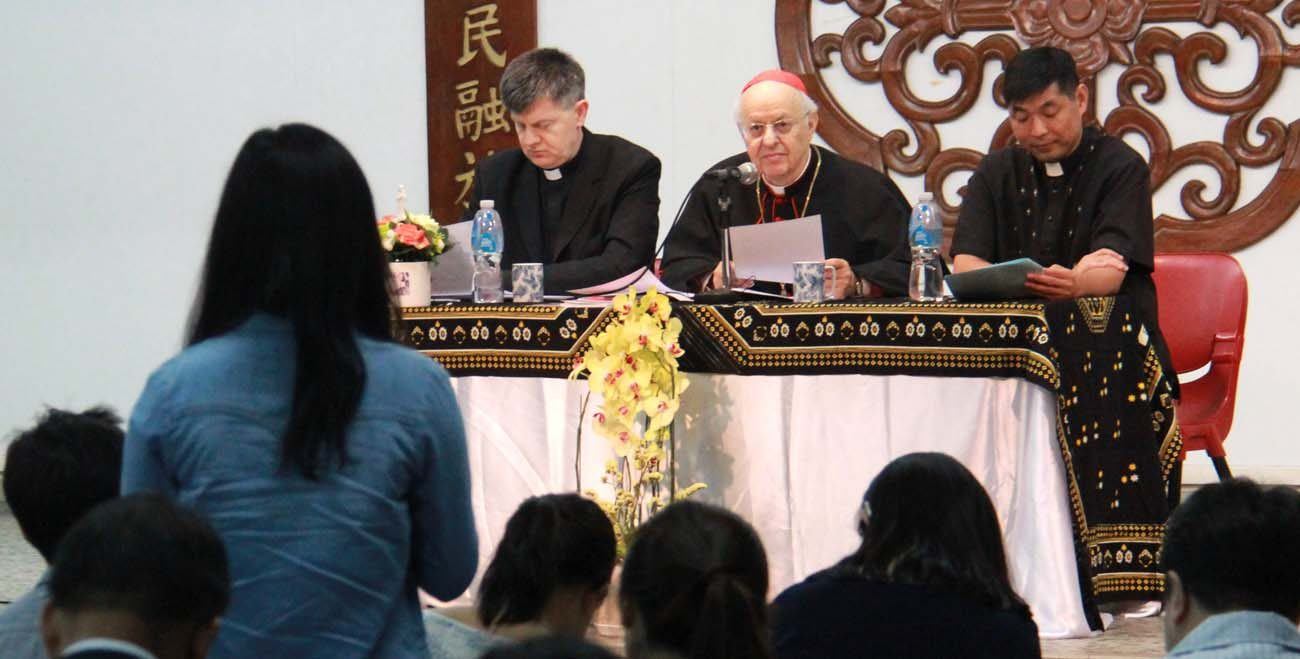 Cardinal Lorenzo Baldisseri, secretary-general of the Synod of Bishops, is seen in Hong Kong May 13. He encouraged  young Catholics there to get involved in preparations for the next synod gathering, to be held in Rome in October 2018. (CNS photo/Francis Wong)