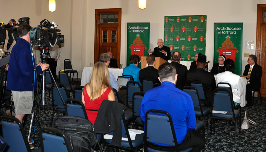Archbishop Leonard P. Blair addresses the media during an announcement of the new pastoral plan for the Archdiocese of Hartford on May 7 at the Archdiocesan Center at St. Thomas Seminary in Bloomfield. (Photo by Shelley Wolf, the Catholic Transcript)