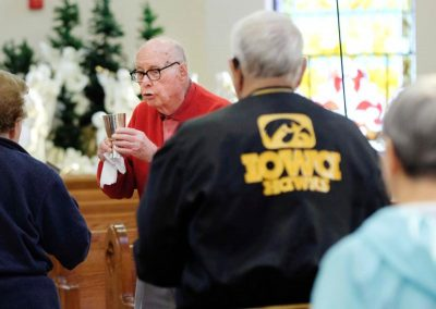 Dr. Leo Samson, 96, is seen serving Mass at Sacred Heart Church in Ida Grove, Iowa, May 5. (CNS photo/Jerry L Mennenga)