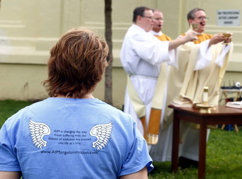 Members of Angels in Motion (www.AIMangelsinmotion.com), an organization that serves those who suffer from addiction particularly in the area where Mother of Mercy House serves, attended Mass in memory of those lost to drugs and in continued prayer for those who are still suffering.