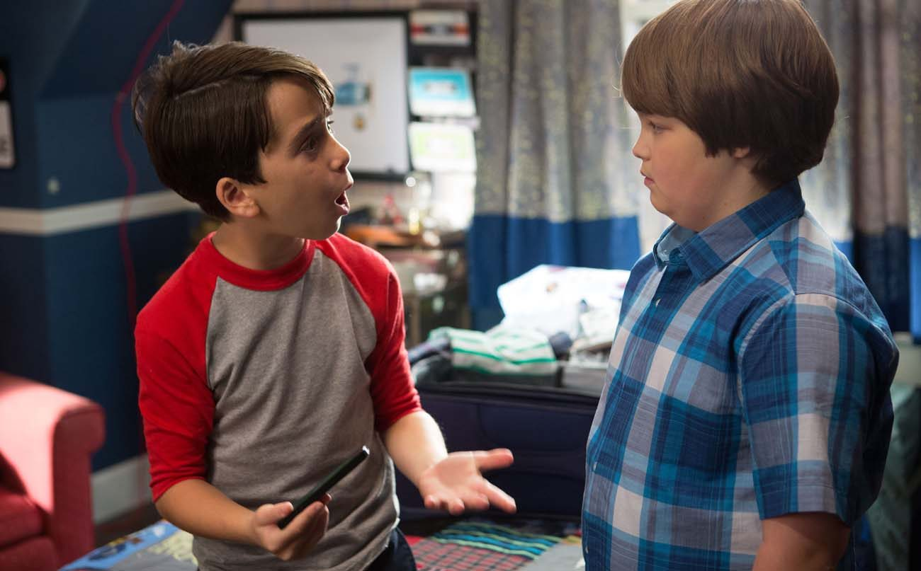"Jason Drucker and Owen Asztalos star in a scene from the movie ""Diary of a Wimpy Kid: The Long Haul."" (CNS photo/Fox)"