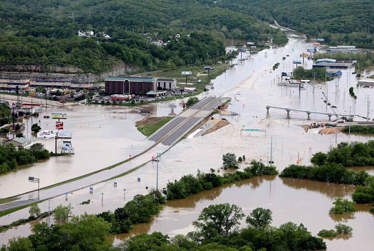 Flood water is seen in Valley Park, Mo., May 5. Record-breaking storms, stretching from Texas to Michigan, are said to have left at least 20 dead in a mix of incidents involving flooding and tornadoes. (CNS photo/courtesy Sacred Heart Catholic Church)