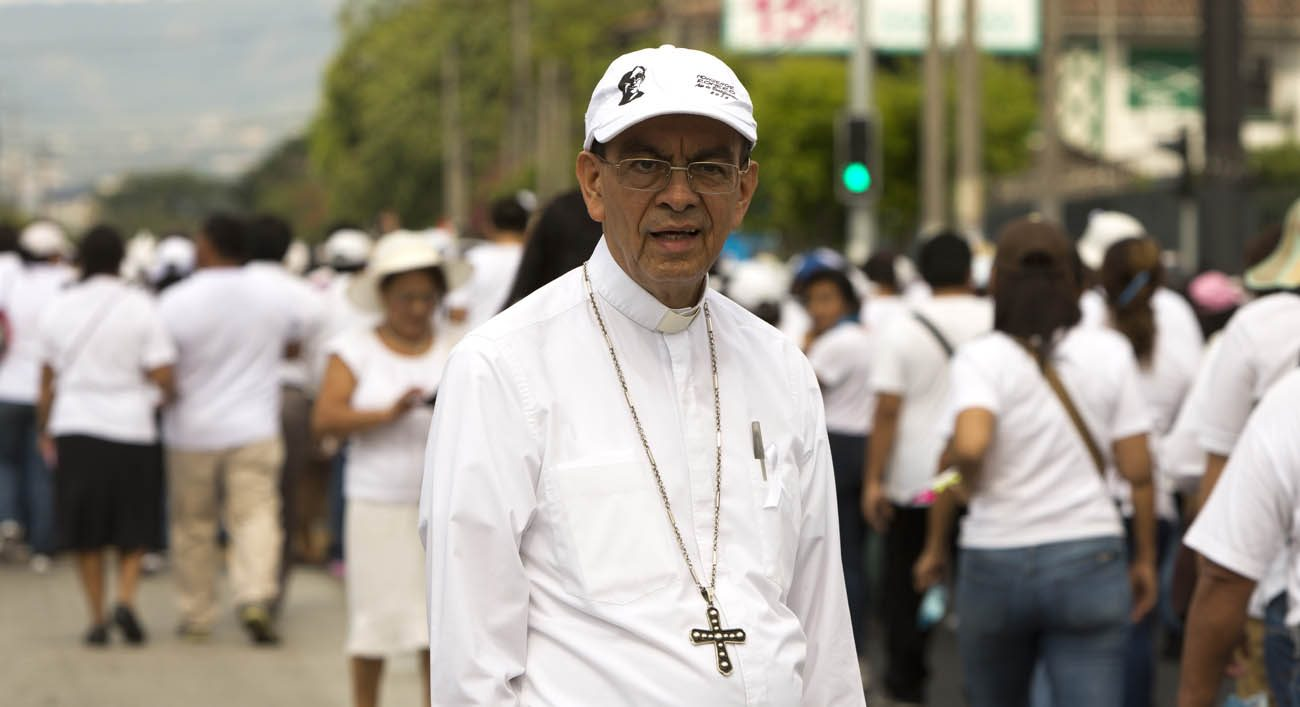 Cardinal-designate Gregorio Rosa Chavez, auxiliary bishop of San Salvador, El Salvador, is one of five new cardinals Pope Francis will elevate at a June 28 consistory. Bishop Rosa Chavez, seen at a march for peace, was a close collaborator of Blessed Oscar Romero. (CNS photo/Octavio Duran)