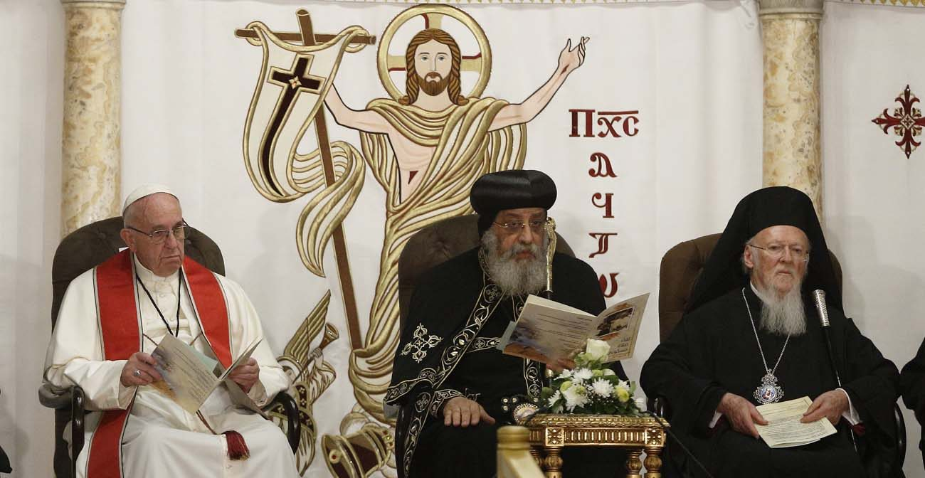 Pope Francis, Coptic Orthodox Pope Tawadros II, Ecumenical Patriarch Bartholomew, spiritual head of the Eastern Orthodox churches, attend an ecumenical prayer service at the Church of St. Peter in Cairo in this April 28, 2017, file photo. The pope was making a two-day visit to Egypt. (CNS photo/Paul Haring)