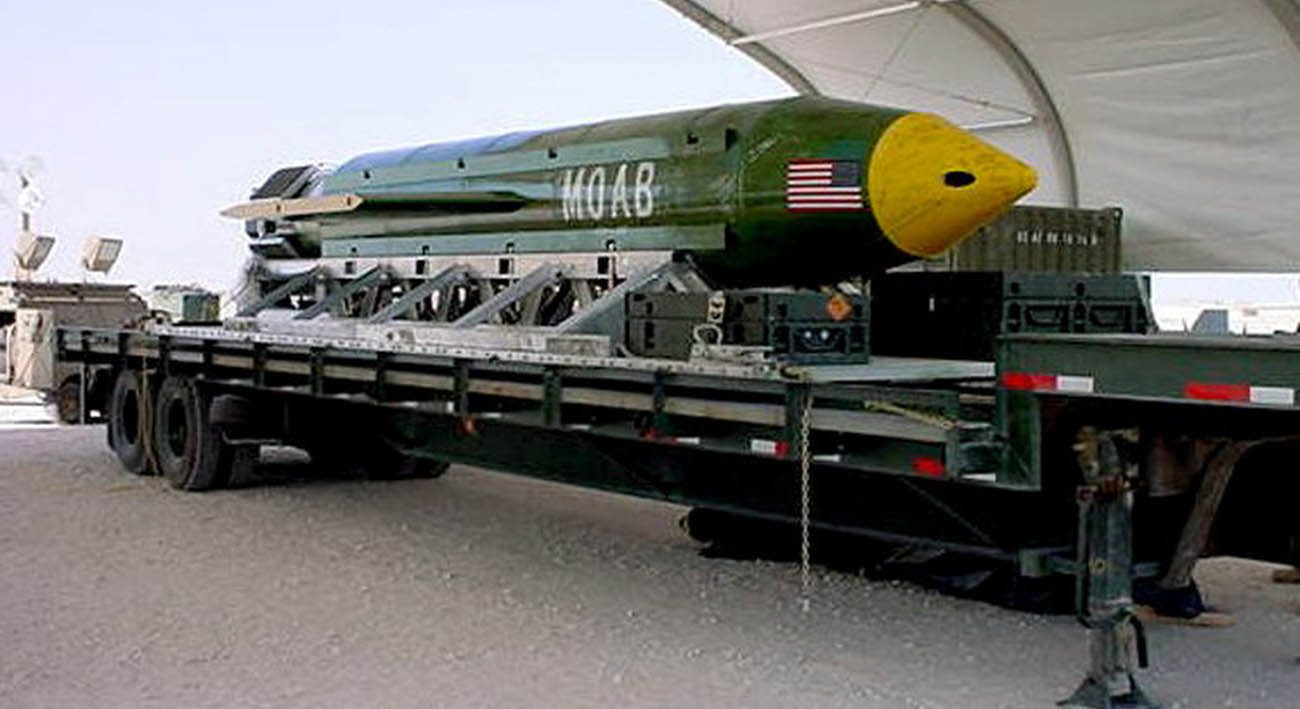 """A Massive Ordnance Air Blast, also known as MOAB or Mother Of All Bombs, is pictured in this undated handout photo. Pope Francis told Italian students May 6 he was shocked when a massive U.S. bomb used in Afghanistan was referred to as """"the mother of all bombs."""" (CNS photo/handout via Reuters)"""