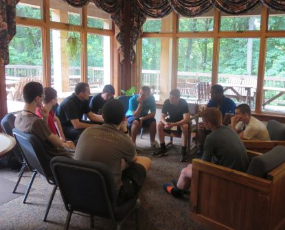 Father Dan Arechebala leads a conference on seeking God's will for one's life during a Quo Vadis retreat.