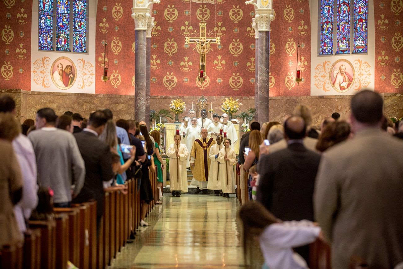 The sanctuary of Resurrection of Our Lord Church in Northeast Philadelphia is seen at the conclusion of Mass on May 6 before the May 20-21 announcement of the merger of Resurrection and Our Lady of Ransom Parishes at Resurrection in Rhawnhurst. (Photo by Truc Tram)