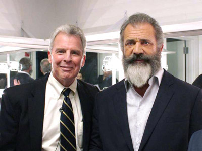 William Spencer Reilly, executive director of the Archbishop Fulton J. Sheen Center for Thought and Culture in New York City, is seen with Mel Gibson in this undated photo. (CNS photo/Archdiocese of New York)