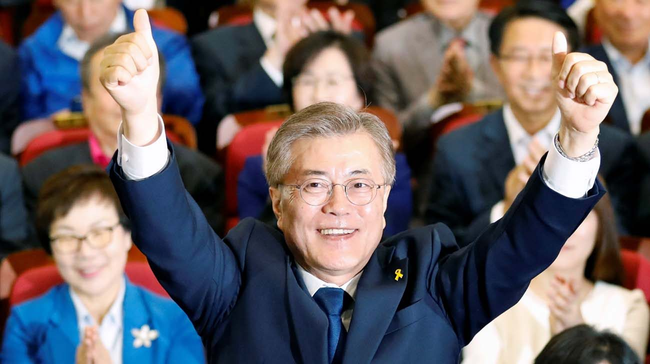 South Korean President-elect Moon Jae-in celebrates in Seoul after declaring victory May 9 in the South Korean presidential election. He was sworn in May 10. (CNS photo/Kim Hong-Ji, Reuters)