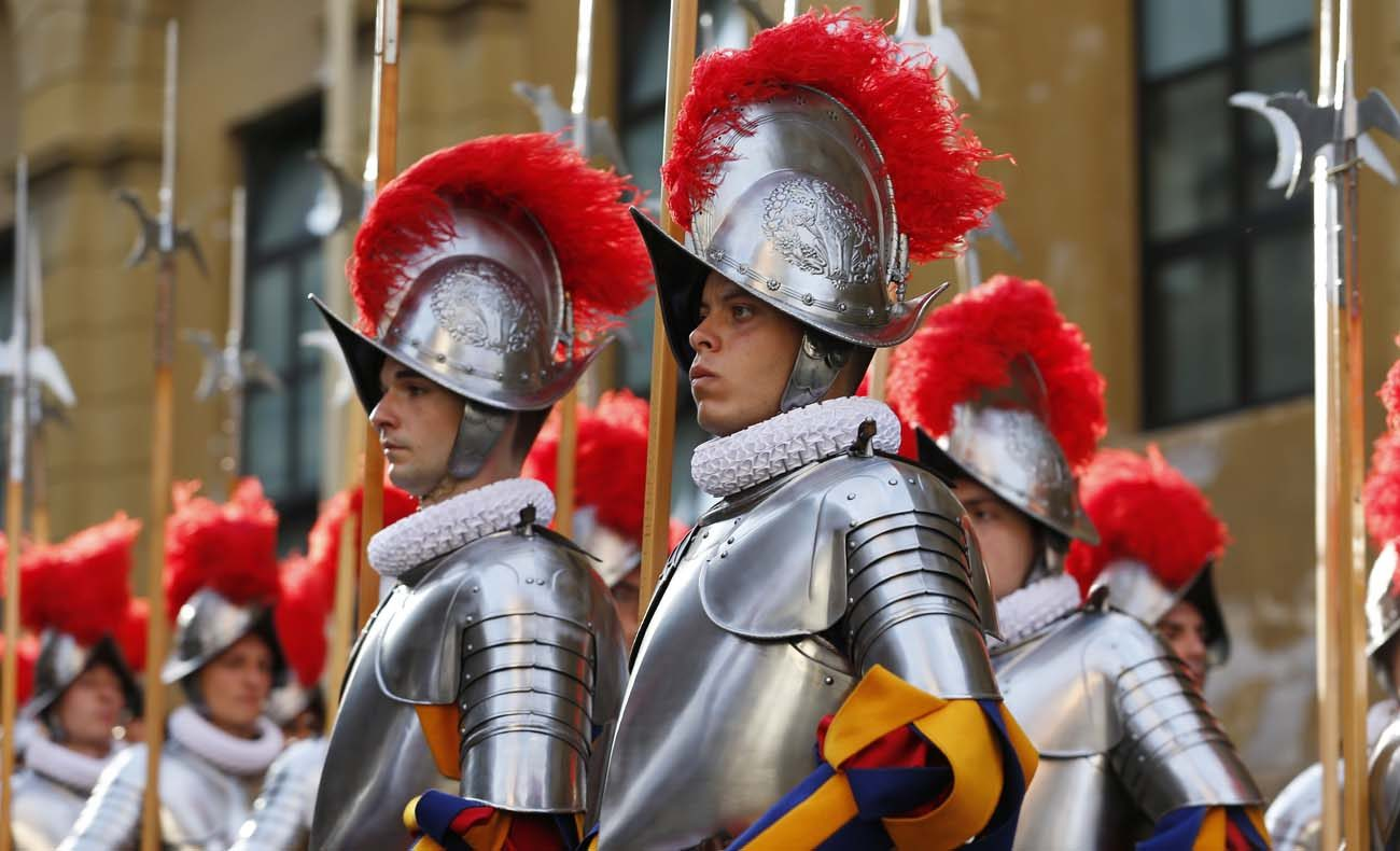 New Swiss Guards march after the swearing-in ceremony for 40 new recruits at the Vatican May 6. New recruits are sworn in every year May 6, the date in 1527 when 147 Swiss soldiers died defending the pope.  (CNS photo/Paul Haring)