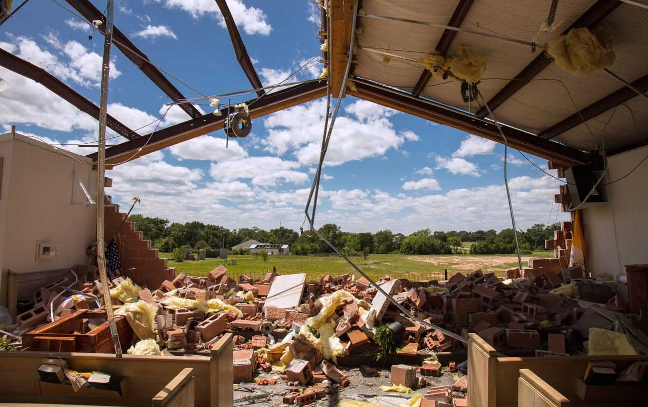 St. John the Evangelist church in Emory, Texas, is seen April 30 after a tornado hit the area a day earlier. (CNS photo/courtesy Diocese of Tyler)