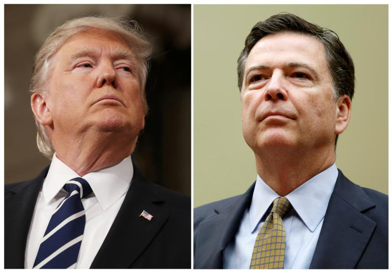 A combination photo shows U.S. President Donald Trump and former FBI Director James Comey. (CNS photo/Jim Lo Scalzo/Gary Cameron, Reuters file photos)