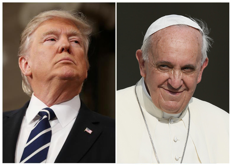 A combination photo shows U.S. President Donald Trump and Pope Francis (CNS photo/Jim Lo Scalzo/Gary Cameron, Reuters file photos. Pope Francis photo: CNS photo/Paul Haring)