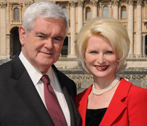 Former U.S. House Speaker Newt Gingrich poses with his wife, Callista, outside St. Peter's Basilica at the Vatican in 2009. (CNS photo/courtesy Gingrich Productions) (June 14, 2010) See VATICAN-AMBASSADOR-GINGRICH-NOMINEE May 15, 2017.