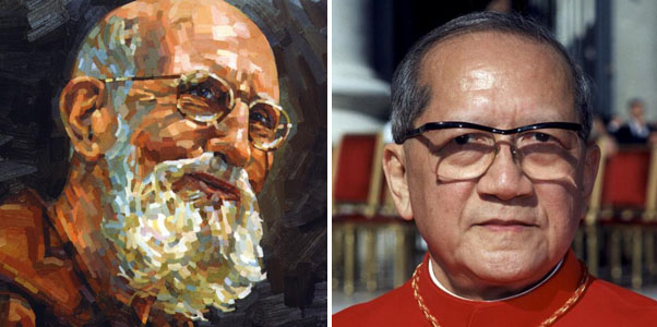 "The likeness of Solanus Casey is seen on the book cover of ""Thank God Ahead of Time: The Life and Spirituality of Solanus Casey."" Vietnamese Cardinal Francois Nguyen Van Thuan is pictured at the Vatican in this 2001 file photo. (CNS)"