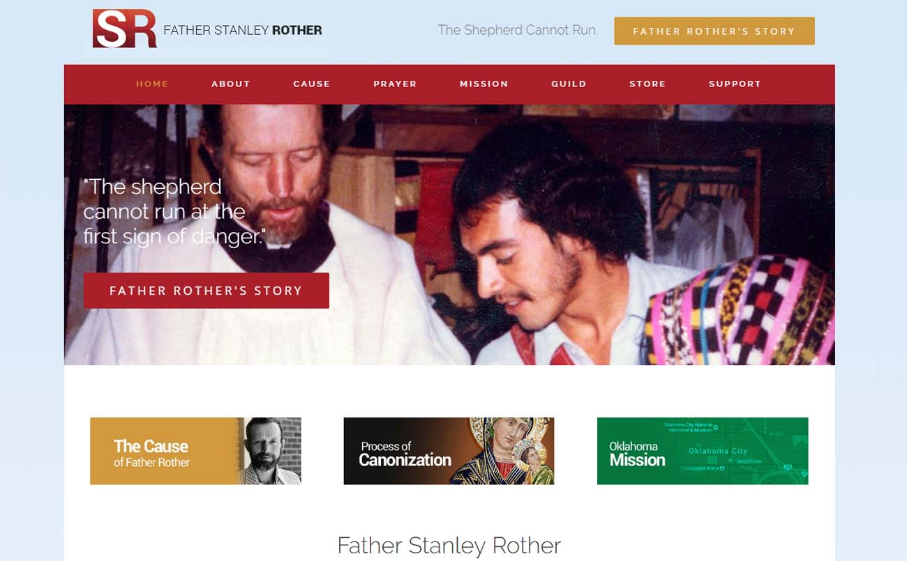 This is a screen shot of the StanleyRother.org website