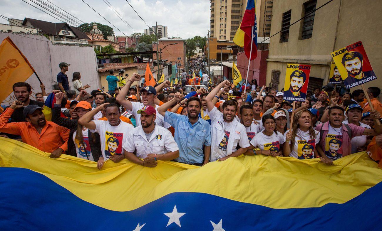 Protesters march in Los Teques, Venezuela, April 28. (CNS photo/Miguel Gutierrez, EPA)