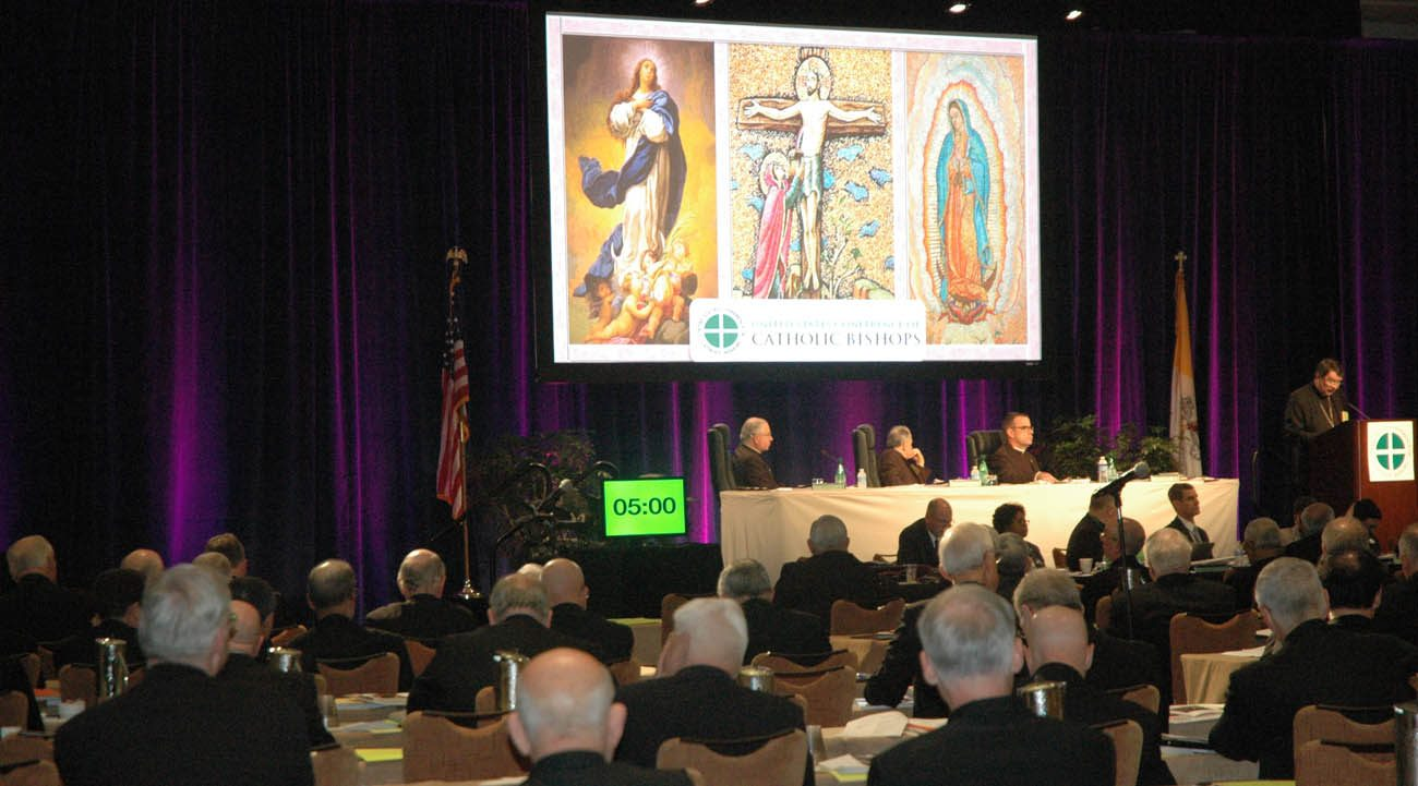 Prelates listen to a speaker June 15 during the U.S. Conference of Catholic Bishops' annual spring assembly in Indianapolis. (CNS photo/Sean Gallagher, The Criterion)