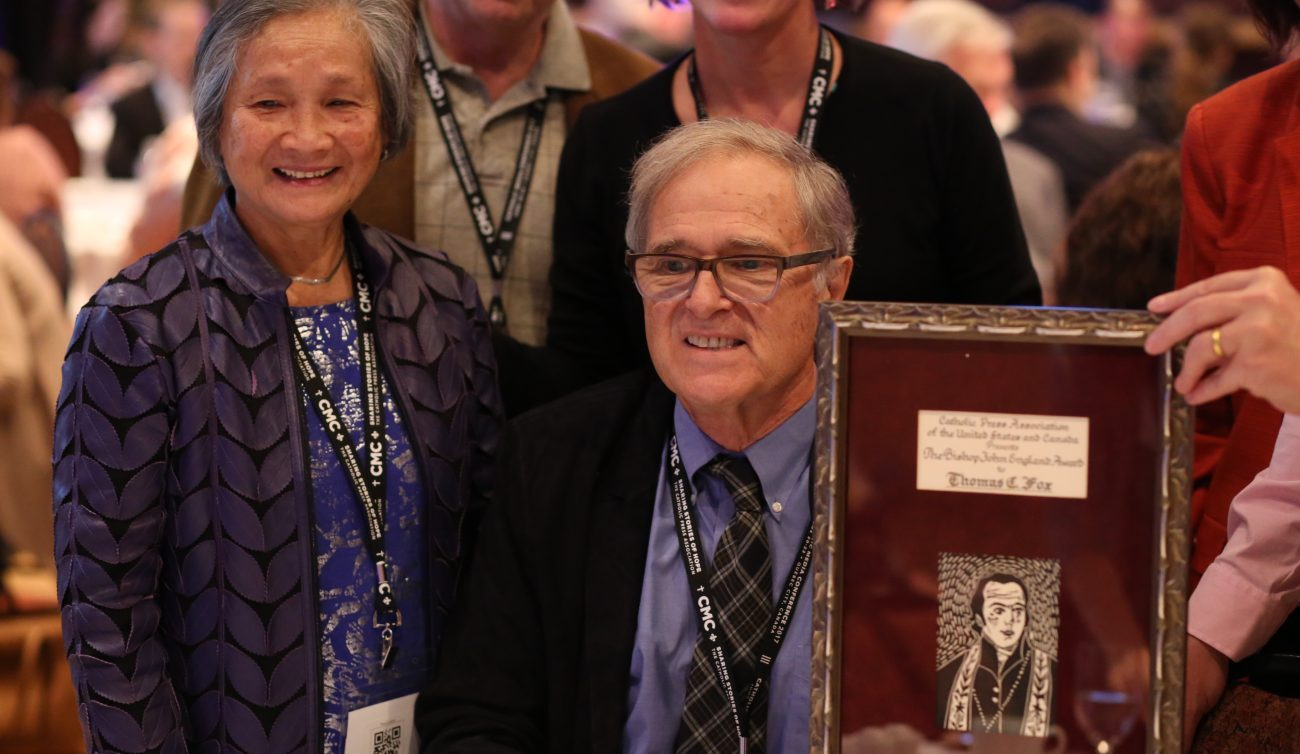 Thomas C. Fox, former publisher of the National Catholic Reporter, poses after receiving the Bishop John England award June 22 at the Catholic Media Conference in Quebec City. (CNS photo/Philippe Vaillancourt, Presence)