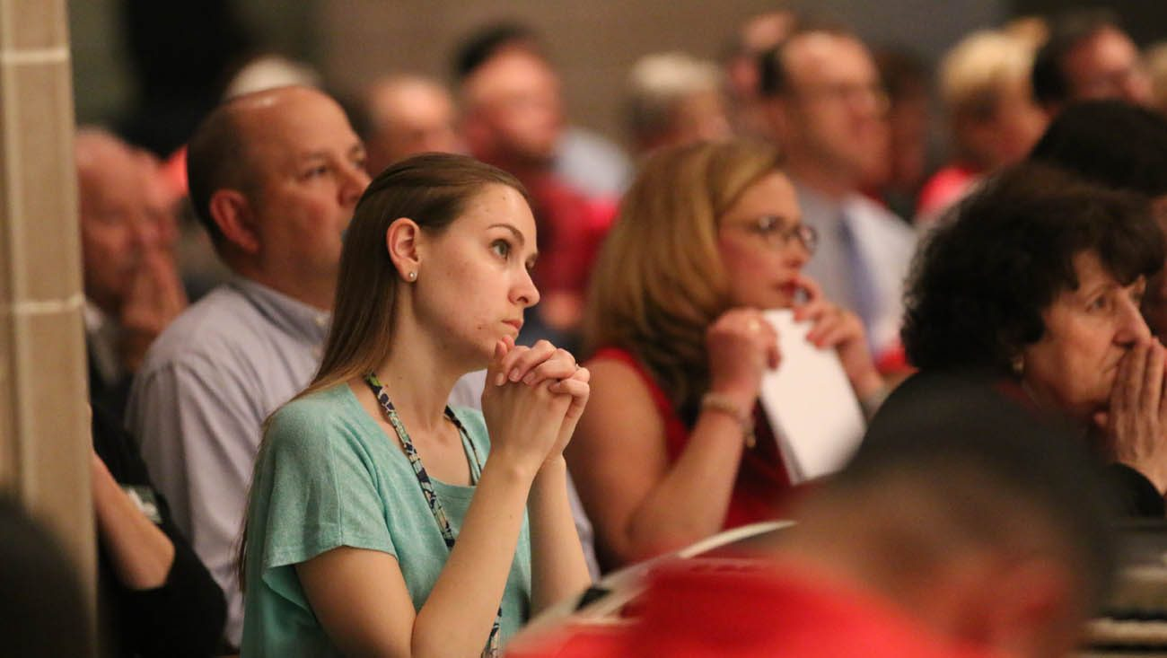 Members of the Detroit archdiocesan synod and others pray during Mass on the vigil of Pentecost June 3 at the Cathedral of the Most Blessed Sacrament in Detroit. (CNS photo/Jonathan Francis, Archdiocese of Detroit)