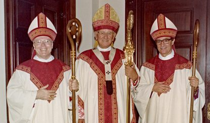 At his episcopal ordination, Auxiliary Bishop Louis A. DeSimone (right), poses with Bishop Francis Schulte (left) and Cardinal John Krol, who ordained them both in November 1981. (Philadelphia Archdiocesan Historical Research Collection)