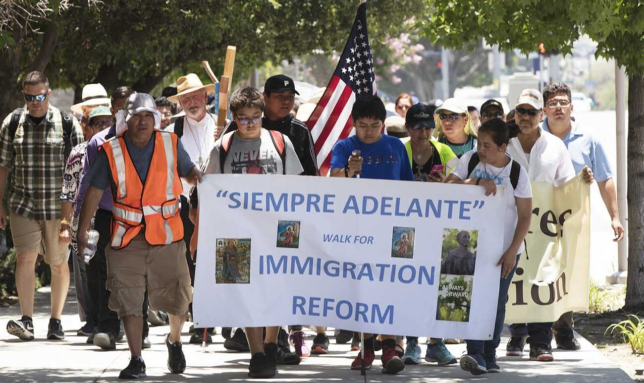 Pilgrims make their way to the Cathedral of Our Lady of the Angels in Los Angeles for a June 18 Mass celebrated by Archbishop Jose H. Gomez in recognition of all immigrants. (CNS photo/J.D. Long-Garcia, Angelus)