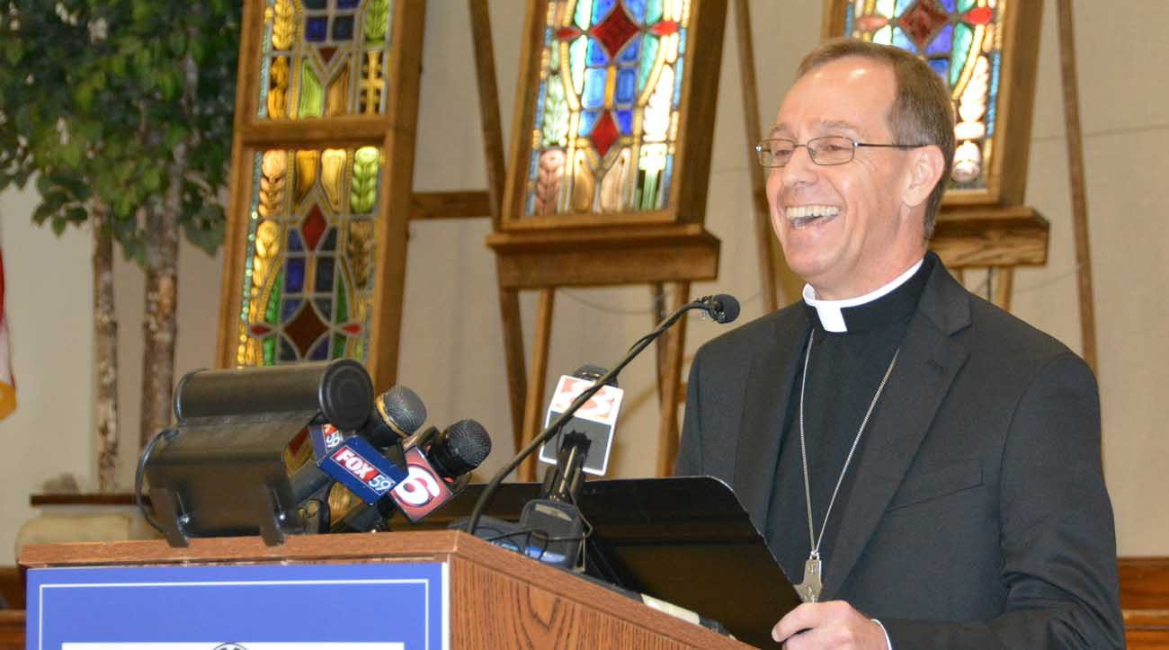 Bishop Charles C. Thompson of Evansville, Ind., smiles during a June 13 news conference after Pope Francis named him the new archbishop of Indianapolis. Archbishop Thompson, who has been Evansville's bishop since 2011, succeeds Cardinal Joseph W. Tobin, who was named to head the Archdiocese of Newark, New Jersey, last November. (CNS photo/Natalie Hoefer, The Criterion)