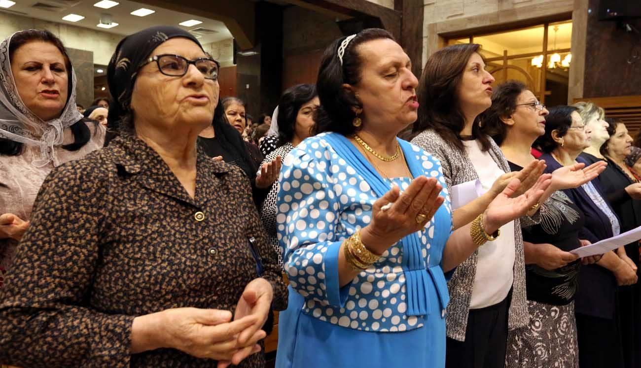 Worshippers pray in 2016 at the Church of our Lady of Perpetual Help in Ankawa, Iraq. The Knights of Columbus has begun a nationwide television and digital ad campaign to spread awareness of the situation of Christians in the Middle East and raise funds on their behalf. (CNS photo/Ahmed Jalil, EPA)