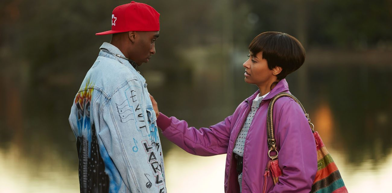 """Demetrius Shipp Jr. and Kat Graham star in a scene from the movie """"All Eyez on Me."""" (CNS photo/Codeblack Films)"""