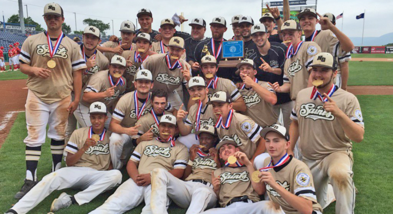 The Neumann-Goretti Saints after winning their second consecutive PIAA Class 2A state baseball championship, June 16, 2017 at Penn State University.