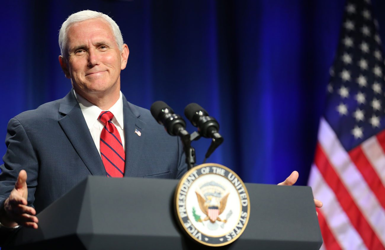 U.S. Vice President Mike Pence gestures as he speaks during the National Catholic Prayer Breakfast June 6 in Washington. (CNS photo/Bob Roller)
