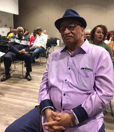 Participants at a talk by author Victor Vazquez-Hernandez at Taller Puertorriqueno learn about the history of Puerto Ricans in Philadelphia. (Arlene Edmonds)