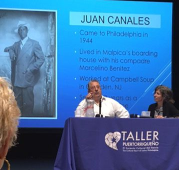 """Victor Vazquez-Hernandez makes a point in his talk about his recent book, """"Before the Wave: Puerto Ricans in Philadelphia, 1910-1945."""""""