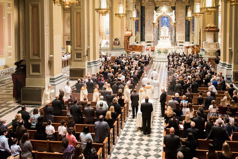 Mourners fill the Cathedral Basilica of SS. Peter and Paul  for the funeral Mass for Dr. Amy Reed.
