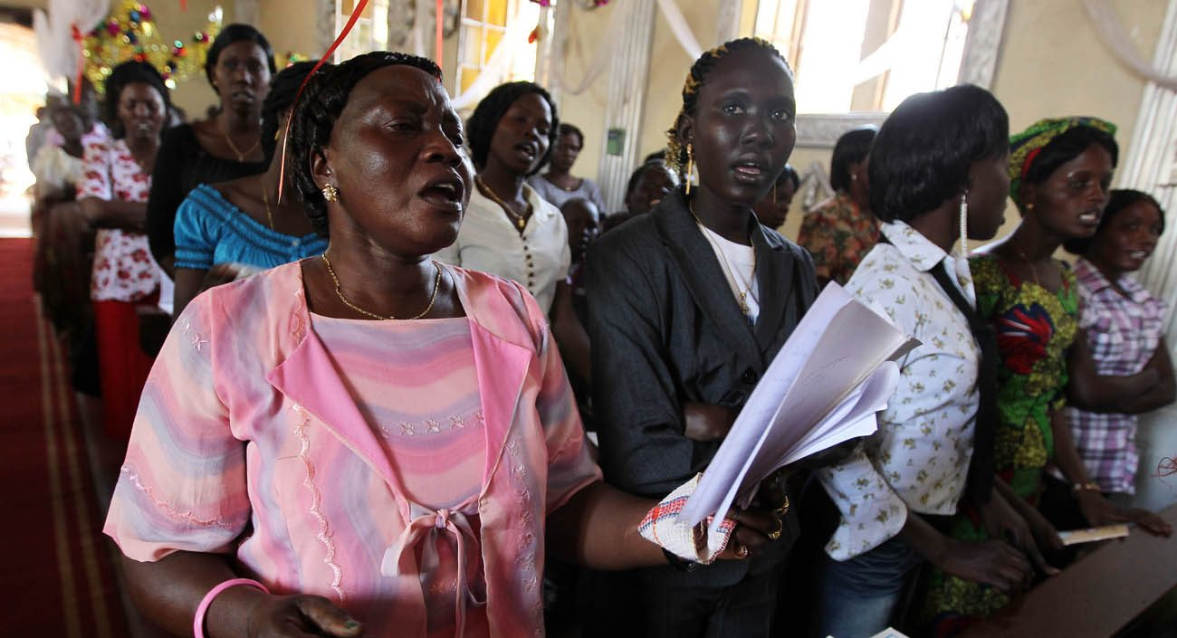 South Sudanese Catholics pray during Mass in 2011 at a church in Juba. Pope Francis has donated about $500,000 dollars to church charities in the violence-afflicted country to show solidarity. (CNS photo/ Mohmaed Messara, EPA)