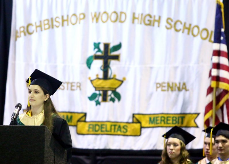 Jacquelyn Sherman delivers the graduation speech for Archbishop Wood High School.