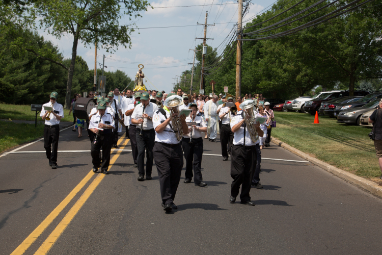 A neighborhood street procession, accompanied by the Verdi Band of Norristown, will take place after the 12:30 p.m. Mass at St. Bede Church in Holland on the final day of the Padre Pio Festival June 26.