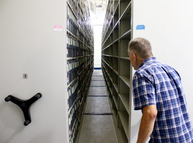 Archivist Shawn Weldon reviews the ample space for records in the new shelving and accommodations at the Catholic Historical Research Center of the Archdiocese of Philadelphia, located in Northeast Philadelphia.