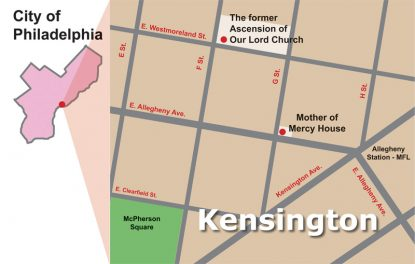 The Kensington area of North Philadelphia served by Mother of Mercy House, a Catholic neighborhood outreach launched in 2015 after the closure of Ascension of Our Lord Parish in 2012. (Graphic by Barbara Hagan)