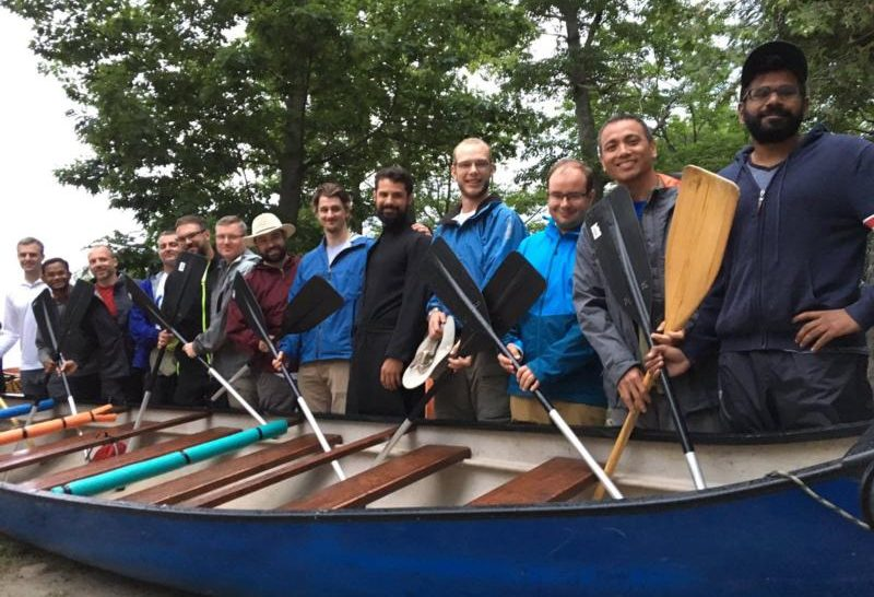 Jesuit priests in Canada pose for a photo in July. They have embarked on a 540-mile canoe journey that will take them from Midland, Ontario, to Montreal, in an effort to promote reconciliation with Canada's indigenous peoples. (CNS photo/courtesy Canadian Canoe Pilgrimage)