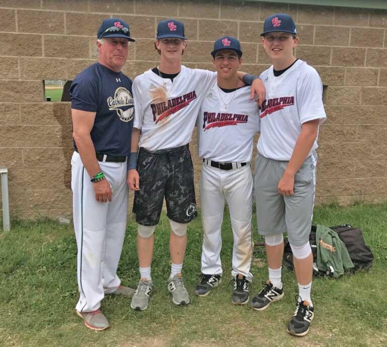 From left at the Carpenter Cup baseball tournament June 14-24 in Philadelphia are some of the Catholic League's squad, from left: Bonner Prendergast's Joe DeBarberie, Matt Headley, Nate Furman and Matt Scanlon.