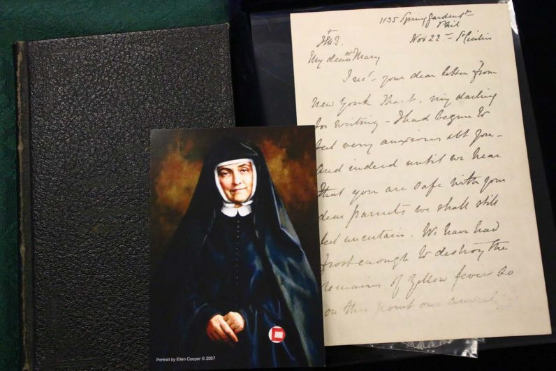 Artifacts from Venerable Cornelia Connolly at Rosemont College's archives include a letter from Cornelia to her sister, Mary. (Photo by Sarah Webb)