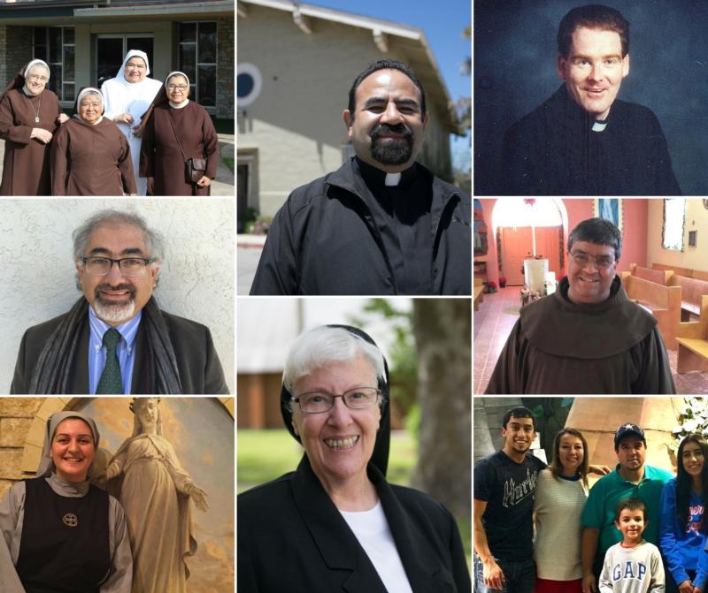 These are the eight finalists for Catholic Extension's Lumen Christi Award. Pictured from left to right and top to bottom: the Missionary Carmelites of St. Teresa, Father Enrique Herrera, Father John O'Grady, Antonio Trujillo, Franciscan Father Ponchie Vasquez, Sister Therese Maria Touma, the Franciscan Sisters of Christian Charity, Ruben and Rosario Cano and the Hispanic Lay Ecclesial Ministers of Utah.(CNS photos/Catholic Extension)