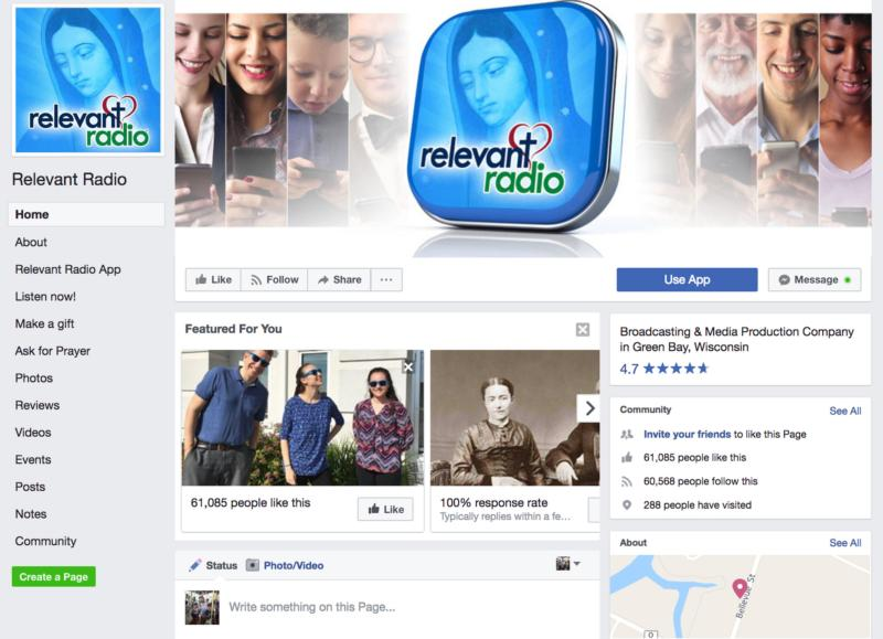 This is the Facebook page of Relevant Radio. (CNS)