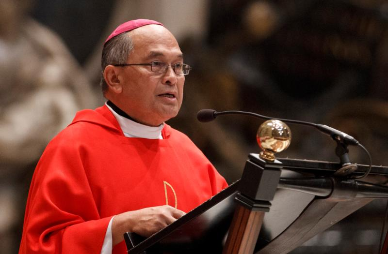 Archbishop Anthony Apuron of Agana, Guam, is pictured in a 2012 photo at the Vatican. (CNS photo/Paul Haring)