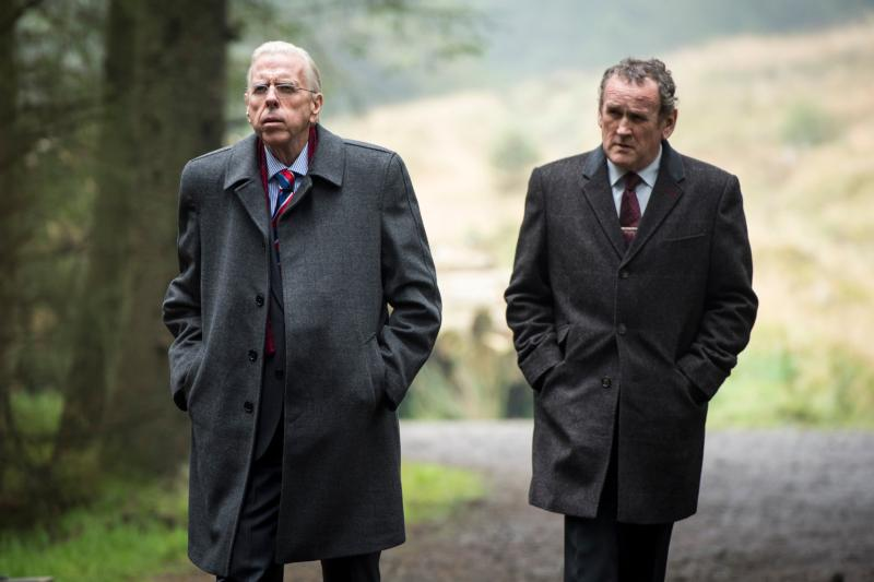 "the Rev. Ian Paisley (Timothy Spall) and Martin McGuinness (Colm Meaney) star in a scene from the movie ""The Journey,"" a fictionalized telling of how McGuinness and Rev. Paisley came to a political solution in 2006 in Northern Ireland to bring decades of Christian-on-Christian sectarian violence to a halt. (CNS photo/IFC Films) See JOURNEY-HAMM July 6, 2017."